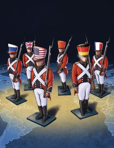 Art by Daniel Garcia - Crisis in the Western World (illustration, editorial, usa, uk, germany, france, russia, china, soldiers, red, blue)