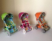 1/12th scale dollshouse modern pushchair/stroller, Bright owls fabric, hand crafted miniature