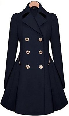 women's Navy Blue Wool coat double breasted button Coat Long Coat ...