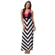 Chelsea & Theodore Women's Colorblocked Chevron Print Maxi Dress