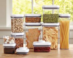 Oxo Pop Containers....I use them for everything from pasta to dried fruit/nut mix to powder laundry detergent