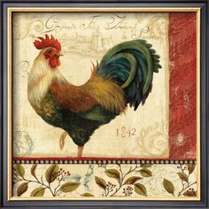 I've never understood why Roosters are considered French decorating. Roosters are so natural. I love the colors of this art. The reds, the greens, the bronzeness.... fascinating.