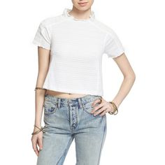 Free People 'Sweetie' Shirred Crop Tee (€62) ❤ liked on Polyvore featuring tops, t-shirts, ivory, boxy tee, crop tee, short sleeve mock neck t-shirt, white crop t shirt and white crop top