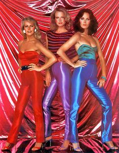 ANGEL FORCE has got this exact same outfit! Cheryl Ladd, Seventies Fashion, Shiny Leggings, Girl Power, Childhood Memories, Superstar, Leather Pants, Beautiful Women, Hollywood