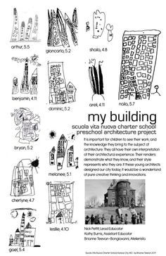 "My Building - Scuola Vita Nuova Charter School Preschool Architecture Project: It is important for children to see their work, and the knowledge they bing to the subject of architecture. They all have their own interpretation of their architectural experience..."" ≈≈ http://pinterest.com/kinderooacademy/documentation/"