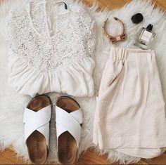 #uglyshoes en blanco #inspiracion #outfit  Shop at ►http://www.marypaz.com/tienda-online/sandalia-plana-descubierta-cruzada-14071.html?sku=69398-42