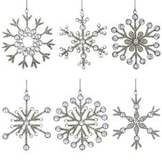 Set of 6 Handmade Snowflake Iron and Glass Pendant Party Ornaments, 6 Inches