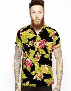 ASOS Hawaiian Shirt in Short Sleeve with Floral Print