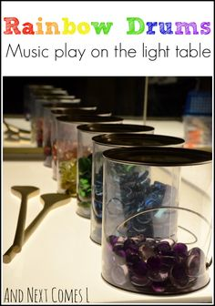 Music play on the light table with rainbow drums from And Next Comes L