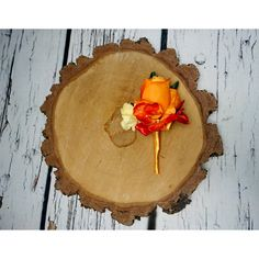 Hydrangea and rose fall autumn woodland wedding BOUTONNIERE orange... ($13) ❤ liked on Polyvore featuring home, home decor, fall home decor, orange home decor, orange home accessories, red home decor and autumn home decor