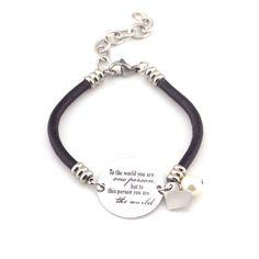 To The World Black Leather Bracelet