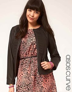 ASOS CURVE Exclusive Leather Jacket With Stitch Detail