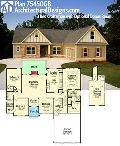 Architectural Designs House Plan 75450GB gives you one story living with a bonus room option over the garage giving two level expansion. Over 1,700 sq. ft. without the bonus room. Ready when you are. Where do YOU want to build?