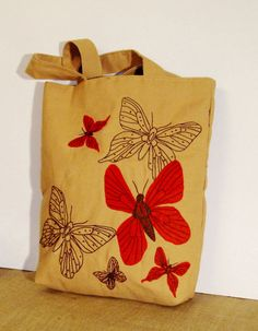 Fashionable Canvas tote bag with butterflies Eco friendly