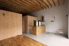 comedor cemento living madera