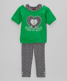 Take a look at this Green Heart Layered Tunic & Leggings - Infant, Toddler & Girls by 2B Real on #zulily today!