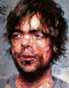 Peter Dinklage portrait , oilpaint by peggy viallat