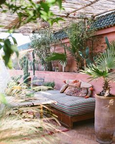 Avert, Manage, And Eliminate Black Mildew Pink Patio Walls With Moroccan Pillows And Cushions. Outdoor Rooms, Outdoor Gardens, Outdoor Living, Outdoor Decor, Exterior Design, Interior And Exterior, Gazebos, Patio Wall, Boho Home