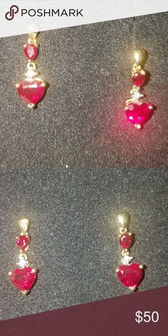 RUBY EARRINGS Lovely Ruby and Gold Heart earrings. They are posts, so you must have pierced ears. They were a gift and came all the way from England! Hopefully they can bring someone special some joy and love! unknown Accessories