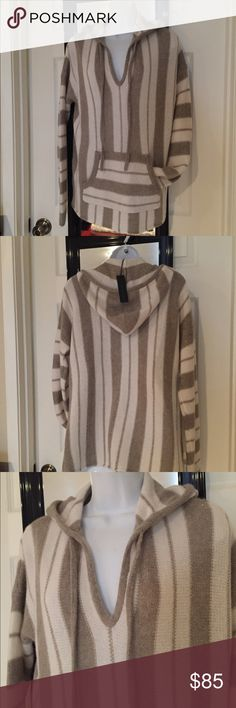Nwt 100% thick soft cashmere loose style hoody Super soft cashmere loose style sweater with a hood and dropped sleeves 360 cashmere Sweaters