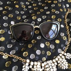 Gold rimmed black large sunglasses Look oh so chic walking down the street in these! Top of the lens and nosepiece are rimmed in gold. NWT retail. April Spirit Accessories Sunglasses