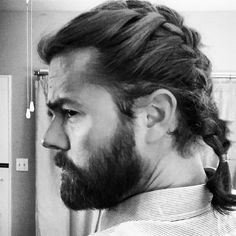 """The frenchbraid is coming BACK on our brawny men. Check out Reed's sweet #brawnybraid . Reed has been a """"manbunner""""- but says """"whoever wants to braid my hair, I'm all for it!"""" Thanks for being a #braidspiration @reediculous84"""