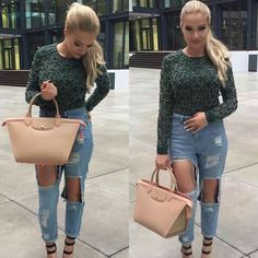 I want this jeans Casual Outfits, Cute Outfits, Fashion Outfits, Womens Fashion, Fashion Trends, Fashion Killa, Ootd Fashion, Shirin David, Nude Bags