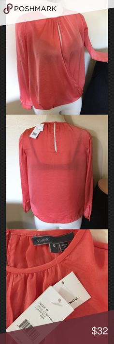 Vince Coral Pink Drape Blouse Top NWT $295 XXS 0 2 Label-Vince Style- V192910968 Open front cross over Drape blouse top with full button cuff long sleeves, keyhole button closure at back neck. Crinkly texture look Size-0 Shown on a 2 mannequin. This open Style will fit any XS 00 0  Measurements-B-36 Hip-36 length underarm to hem- 13 back neck to hem-21, Sleeves-22 Color-Coral Pink (612) Fabric-100% Polyester Condition-NWT $295 Mint condition. Slight line thru label.  Origin-China Vince Tops…