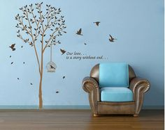 Wall Decal Removable Vinyl Sticker Living Room Nursery Decor Brown Tree Art With Birds