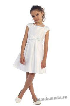 Элегантное белое платье для девочки. Детские нарядные платья купить.