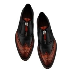 Handmade Men Oxfords Formal Black Brown Two Tone Brogue Zip Leather Dress Shoes Handmade Upper made with Cow Leather Lining made with Cow Leather Sole made with Cow Leather Heel made with Cow Leather Custom Size and Design Option Ava. Two Tone Brogues, Brown Brogues, Leather Brogues, Brown Dress Shoes, Leather Dress Shoes, Up Shoes, Shoes Men, Custom Design Shoes, Shoe Designs