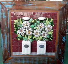 quadro de mosaico com louças | Solange Piffer Mosaicos | 29D291 - Elo7