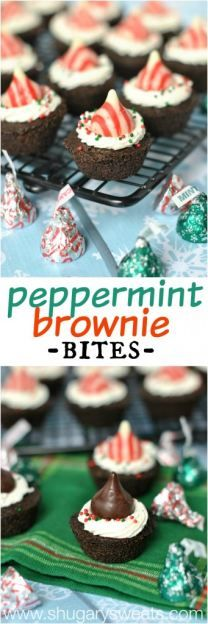 Dark Chocolate Brownies with Peppermint Frosting and Peppermint Kisses