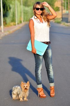 boy jeans and heels with lace white shirt<3