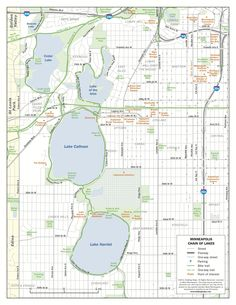 A map of all of the lakes that make up the city of Minneapolis | Minneapolis, Minnesota