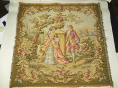 Vintage French Gobly Victorian Tapestry Colonial Man Woman Urn Cotton 19x19 Nice | eBay