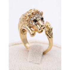 Choies Golden Lion King Shape Rhinestone Ring (16 BRL) ❤ liked on Polyvore featuring jewelry, rings, gold, rhinestone rings, rhinestone jewelry, lion ring, golden jewelry and golden jewellery