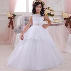 a318aa7e122 Flower Girl Dresses With Bow Beaded Crystal Lace Up Applique Ball Gown  First Communion Dress for