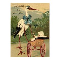 Vintage Victorian Stork Baby Shower Personalized Invite