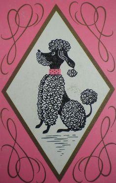 Vintage Pink Poodle Card