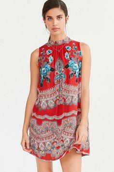 Ecote Scarf Print Mock-Neck Mini Shift Dress - Urban Outfitters