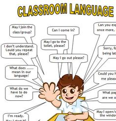 This worksheet contains the necessary language students need to communicate on English lessons. English Vocabulary, English Grammar, English Language, English Sentences, Classroom Rules, Classroom Language, Education English, Teaching English, Teaching Spanish