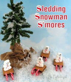 Sledding Snowman S'mores!