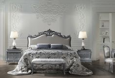 Set for bedroom Giglio from the Italian manufacturer Angelo Cappellini. Set includes a double bed, two bedside tables, a dressing table, bench and chair. Bed Sets For Sale, Georgian Furniture, Luxury Italian Furniture, How To Dress A Bed, Luxury Bedding Sets, Modern Bedding, Bedroom Fireplace, Classic House, Luxurious Bedrooms