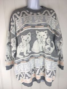 Cat Lover Maternity Sweater Large Blue Peach Gray Vintage Knit Crazy Kitty Lady #NewAdditionMaternity #Crewneck