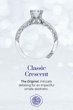 For the lover of all things classic, this is the collection that started it all with the iconic Tacori crescents set with diamonds on the inner face of the ring. #Tacori #TacoriRing #ClassicCrescent #details Tacori Rings, Tacori Engagement Rings, Crescents, Diamonds, Vintage Fashion, Classic, Face, Collection, Style