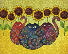 Cats With Sunflowers - artist sandygrafik