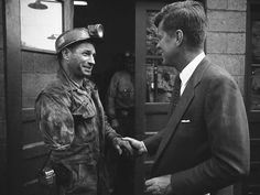 Considered a battleground state in the 1960 primary election, John F. Kennedy meets with coal miners in West Virginia. Kennedy would best Hubert Humphrey in the election and win of the primary vote. John F Kennedy, Les Kennedy, American Presidents, American History, West Virginia History, Coal Miners, John Fitzgerald, Michel, Jfk