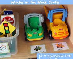 Vehicles in the Block Center via www.pre-kpages.com #preschool #kindergarten