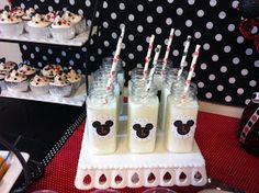 Mickey Mouse Party Milk Bottles